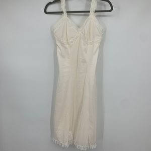 Vintage full dress slip lace straps trim intimate